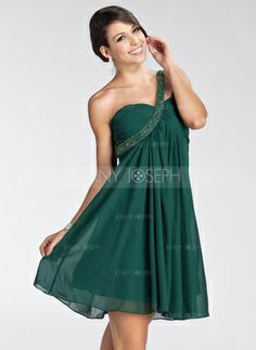 Empire One-Shoulder Short/Mini Chiffon Charmeuse Homecoming Dresses With Ruffle Beading Green Homecoming Dresses, Bridesmaid Dresses, Prom Dresses, Chiffon Dresses, Bridesmaids, Dress Shops Uk, Vestidos Fashion, Green Mini Skirt, Green Cocktail Dress