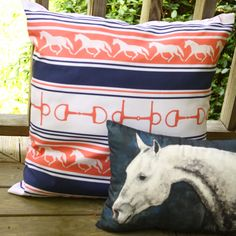 Dappled Gray Horse Head Pillow - GREAT throw pillow for the living room couch for the equestrian themed decor! #horses