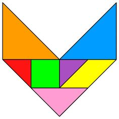 Tangram Letter V - Tangram solution #129 - Providing teachers and pupils with tangram puzzle activities