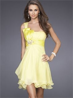 One Shoulder Empire WaistBand  With Beaded Broach Short Prom Dress PD10661 www.dresseshouse.co.uk $85.0000
