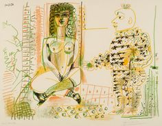 workman:  hipinuff: Pablo Picasso (Spanish: 1881 – 1973), The painter and his model, 1954. Colored lithograph, 50x64cm.