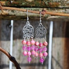 Pink Jasper Earrings, Dragon Vein Agate earrings, Bali silver earrings, chandelier earrings. Pink earrings. Wedding earrings, summer earring - pinned by pin4etsy.com