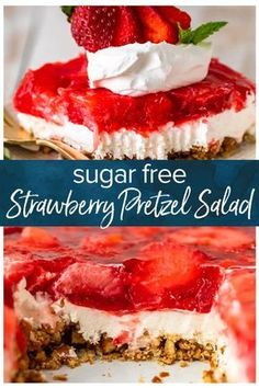 Strawberry Pretzel Salad is an absolute must make during the holidays, especially when you can make it SUGAR FREE but just as delicious as the traditional version! This Sugar Free Strawberry Pretzel Salad recipe is made with layers of salty and buttery pretzels, low fat cream cheese/whipped cream, and of course and tangy strawberry jello topping. It's a delicious side dish or even dessert for Christmas, Easter, Thanksgiving, and beyond! #strawberrydessert #easydessert via @beckygallhardin