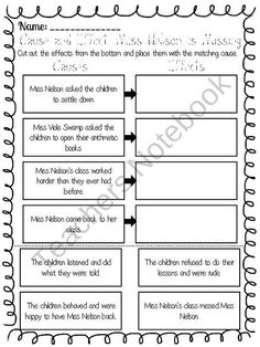 Printables Miss Nelson Is Missing Worksheets the ojays compare and contrast story on pinterest cause effect worksheet for miss nelson is missing