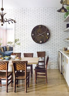 Tiled kitchen wall by Waterworks.