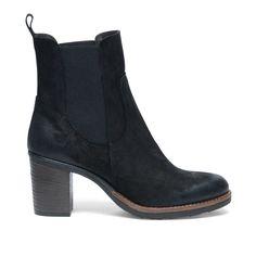 Chelsea boots met blokhak zwart #Chelsea boots #Zwarte boots