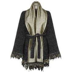 Etro Pinstripe Fringed Cardigan (8.785 RON) ❤ liked on Polyvore featuring tops, cardigans, oversized tops, etro, fringe top, cardigan top and woven top