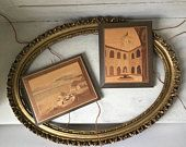 Vintage Marquetry Art | Set of 2 Wood Inlay Scenes | Italian Landscape Wood Plaques | Wood Wall Art | Wood Wallhanging | Travel Home Decor