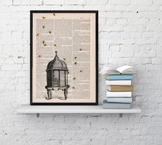 Poster print Bee hive Dictionary art- Bumble bee Art on Print on Dictionary page -Wall Art Decor-Bee hive- Wall hanging giclee print BPBB029