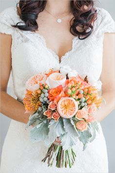 orange and peach bridal bouquet #bouquet #orangebouquet #weddingchicks http://www.weddingchicks.com/2014/03/14/charming-chattanooga-wedding/