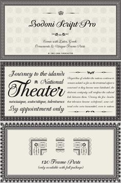 Type Love 51: Bodoni Script Pro  Bodoni Script Pro would be a per­fect type­face for a wed­ding invitation.The char­ac­ter set is packed with lots of grace­ful, flour­ishy details, and the com­plete pack­age comes with three weights, 144 orna­ments and 120 unique frame parts