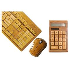 Smart Tech Handcrafted Natural Bamboo Wooden PC Wireless 2.4GHz Keyboard and Mouse Combo + Free Smart Tech Touch Pen+ Bamboo Calculator