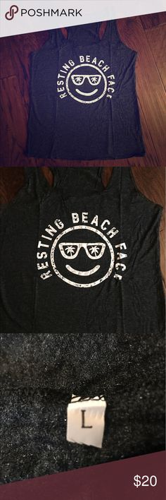 😒😒RESTING BEACH FACE TEE😒😒 Super cute tank. Resting Beach Face. Have two in large. Tops Tank Tops
