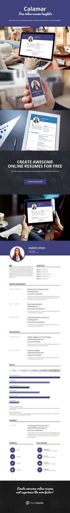 50 Professional HTML Resume Templates Cv resume template, Cv - free online resumes templates