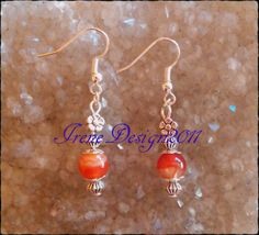 Beautiful Handmade Silver Hook Earrings with Orange Vein Agate & Flower Vein Agate belong to the Root Chakra. The Orange Vein Agate also cover the Sacral Chakra. They support our self-respect a…