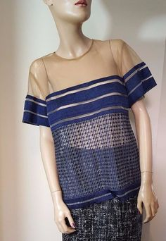 Self Portrait 2015 Navy Patchwork Sheer Top Size 12 T-Shirt Loose Fit Evening #SelfPortrait #OtherTops #Party