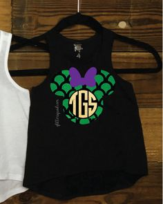 Monogram Mermaid Minnie Mouse Monogram Toddler Racer Tank / Youth Racer Tank…