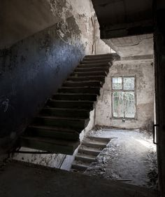 Beelitz Sanatorium  Missing a step on the way up. Take a leap of faith and see if you make it...