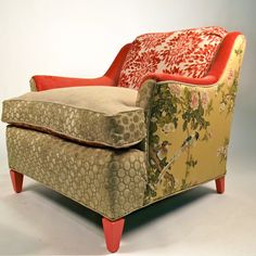 what a great mix of velvets in this arm chair. Love patchwork textiles
