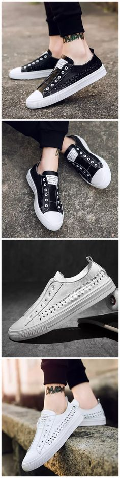 black white all-match men shoes new design breathable summer shoes
