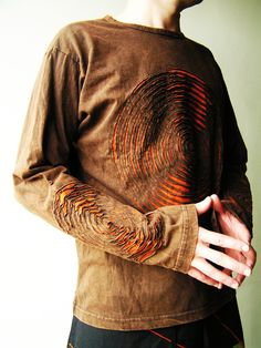 Men's   Psy  Shirt -  Long sleeve - Cut out - Stone washed - Cotton - Sweatshirt  - Festival. $30.00, via Etsy.