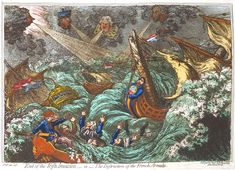 This hand-colored etching by James Gillray, called 'End of the Irish Invasion' or 'the Destruction of the French Armada' depicts the French expedition to Bantry Bay, at the end of James Gillray, Charles Fox, History Of England, Our Legacy, French Revolution, Travel Themes, New York Public Library, Still Image, Destruction