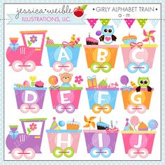 Girly Alphabet Train A-M Cute Digital Clipart for Commercial or Personal Use, Alphabet Clipart, Alphabet Graphics