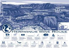 Informative Map of the Hermanus Wine Route - Well known for their world class Chardonnay and Pinot Noir amongst others Windsor Hotel, Wine Facts, Wine Safari, African Safari, Wine And Spirits, Atlantic Ocean, Wines, South Africa, Map