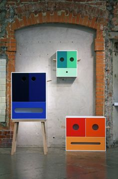 'Hola Bandola' (Spring 2011) by Norwegian designer/artist Jørgen Platou Willumsen of JPW art. A series of cabinets, Ohh, Ahh and Ehh. MDF, Oak. via the designer's site