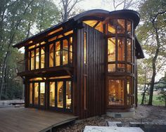 Recently profiled in the New York Times, von Voss's 1,400-square-foot, Frank Lloyd Wright-inspired house is a masterpiece of patient craftsmanship: each plank and beam was milled by hand, using fallen trees salvaged from the woods nearby. [Times article here http://www.nytimes.com/2014/11/27/garden/-taunting-the-big-bad-wolf-.html?partner=rssnyt&emc=rss&_r=1]