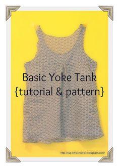 Free gathered yoke tank top pattern with tutorial.