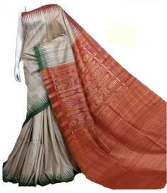 Orange Pure Handloom Ghicha Tussar Silk Saree With Ikat Weaving