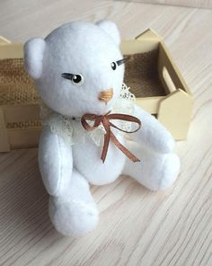 White Teddy bear. Soft teddy bear is made of soft jersey. The