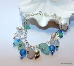 Sea Glass Charm Bracelet Lake Erie Beach Glass by beachglassshop, $54.00