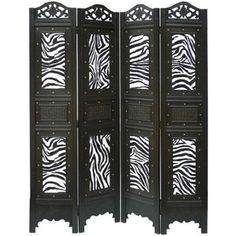 Phat Tommy 4-Panel Zebra Animal Print Room Divider Screen - Polyvore