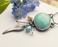Peruvian Amazonite in Silver Necklace with Dangling Wire Wrapped Beads and Wing, Bohemian Style Necklace with Modern Oxidized Rustic Touch