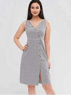 No Fall and Spring and Summer Gingham Sleeveless V-Collar Knee-Length Sheath Day and Work Elegant Diagonal Button Through Gingham Midi Dress Dress Outfits, Casual Dresses, Short Dresses, Dresses For Work, Summer Dresses, Frock Fashion, Fashion Dresses, Fashion Fashion, Dress Indian Style