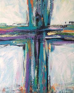 "Contemporary Cross Painting Christian Art Teal Black Purple Canvas 16"" x 20"" by TracyHallArt on Etsy"