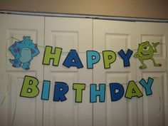 Happy Birthday Banner Made with Pixar Cricut Cartridge (Sulley and Mike)