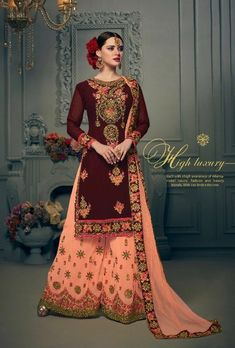 a3c4265f4 Maroon And Peach Designer Embroidered Suit