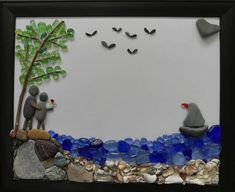 This beautiful piece was inspired by Camden, Maine at the request of the buyer. A couple in love look out over the harbor at the gentle sea and the activity around it. Seagulls overhead, a sailboat in the distance, and soft waves lapping at the shore. I think it captures the beauty and