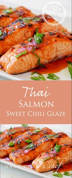 Broiled Salmon with Thai Sweet Chili Glaze Broiled salmon that has been marinated in sweet chili sauce, soy sauce & ginger develops a lovely caramelized top while cooking. - Broiled Salmon with Thai Sweet Chili Glaze Sauce Chili, Thai Sweet Chili Sauce, Soy Sauce, Garlic Sauce, Fried Fish Recipes, Seafood Recipes, Seafood Pasta, Seafood Dishes, Recipes Dinner