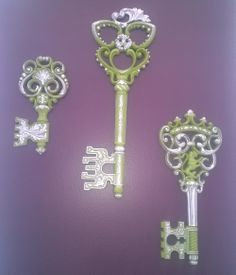 Set of 3 XL vintage keys, painted in a lime green hand accented with silver gilding...  For Sale $105/set