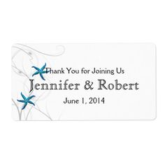 Blue Starfish Silver Wedding Water Bottle Label