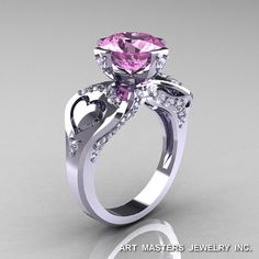 Modern Victorian 14K White Gold 3.0 Ct Light Pink by DesignMasters, $1559.00