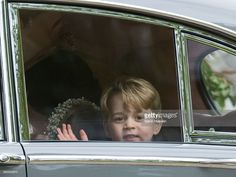 Pageboy Prince George of Cambridge waves as he leaves by car the wedding Of Pippa Middleton and James Matthews at St Mark's Church on May 20, 2017 in Englefield Green, England.