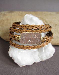 Leather Druzy Bracelet Drusy Quartz Braided by julianneblumlo. Jewelry Crafts, Jewelry Art, Jewelry Accessories, Handmade Jewelry, Jewelry Design, Druzy Jewelry, Jewelry Bracelets, Quartz Jewelry, Diamond Jewellery