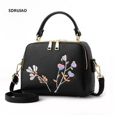 1bb483684b7d we more 2017 New Women Leather Bag Zipper Handbag Lady Fashion Shoulder Bag  Female Flower Embroidery Bags Quality Casual Tote