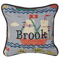 Hoohobbers throw pillow in the ahoy! design collection is alive with whimsical pirate ships and pirates, a nautical setting appropriate for any boy.