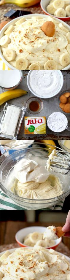 How to make Banana Cream Pie Dip! This. With only a handful of ingredients, this no-bake dip is the perfect sweet treat for just about any occasion!  #banana #bananacreampie #bananapie #nobake #easydessert #dip #dessertdip #jello #coolwhip #creamcheese